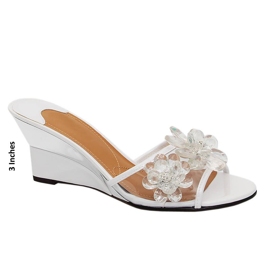 White Haley Pearl Transparent Wedge