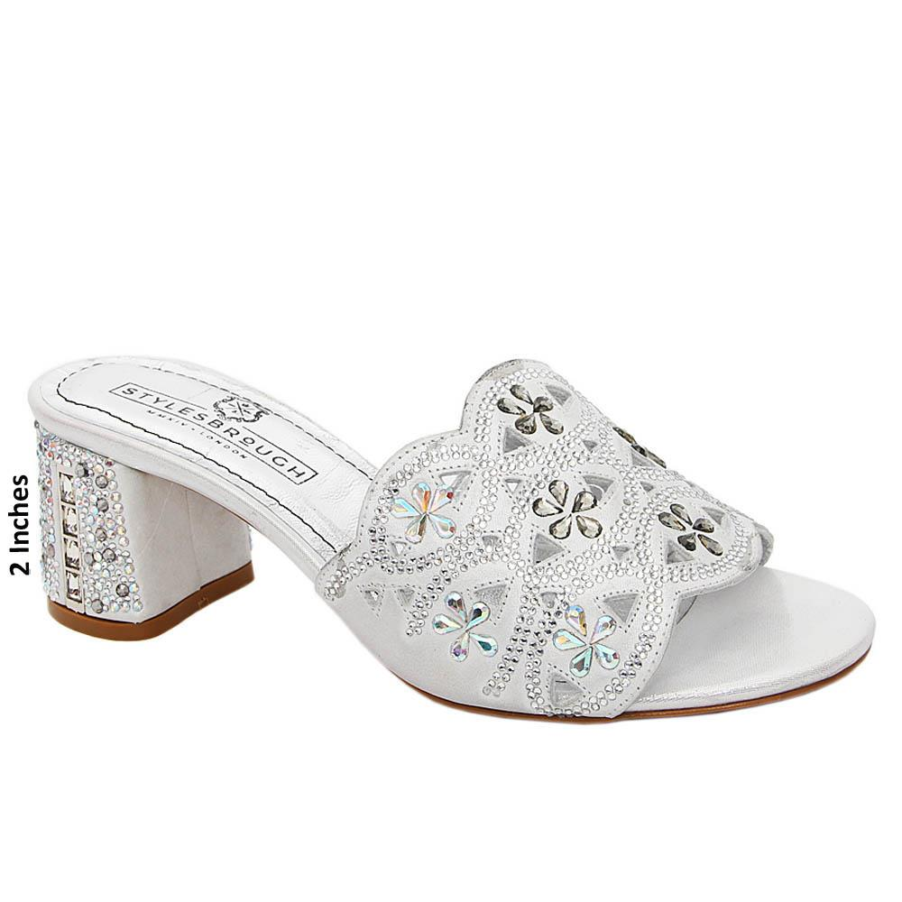 Silver Rosa Crystals Italian Satin Leather Mule