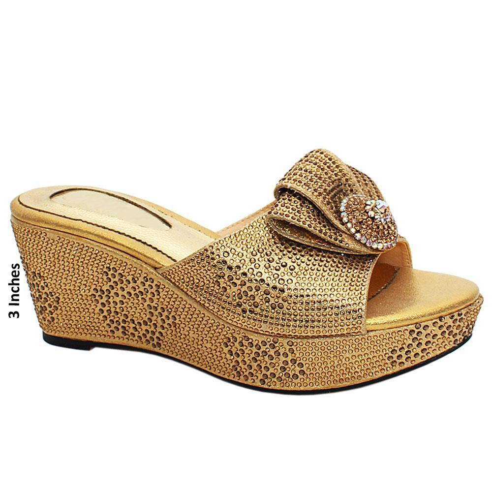Gold Megan Studded Leather Wedge Heels