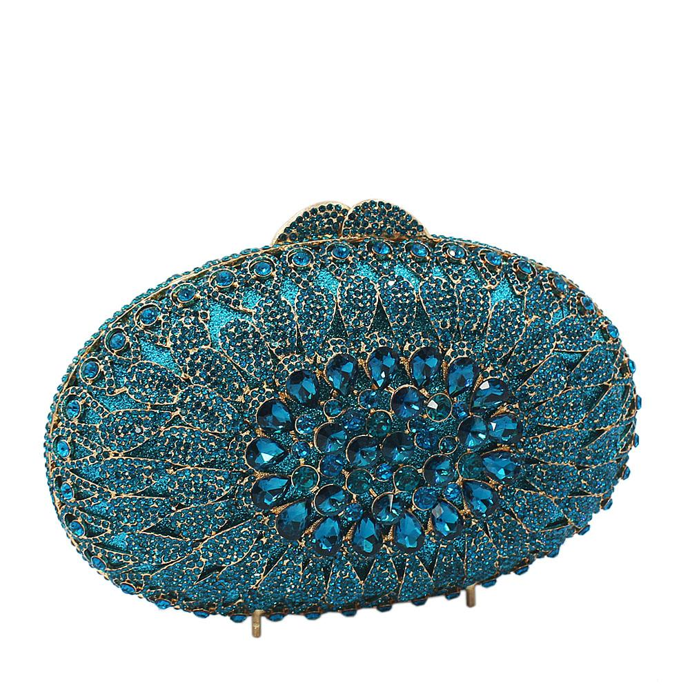 Blue Gold Diamante Crystals Clutch Purse