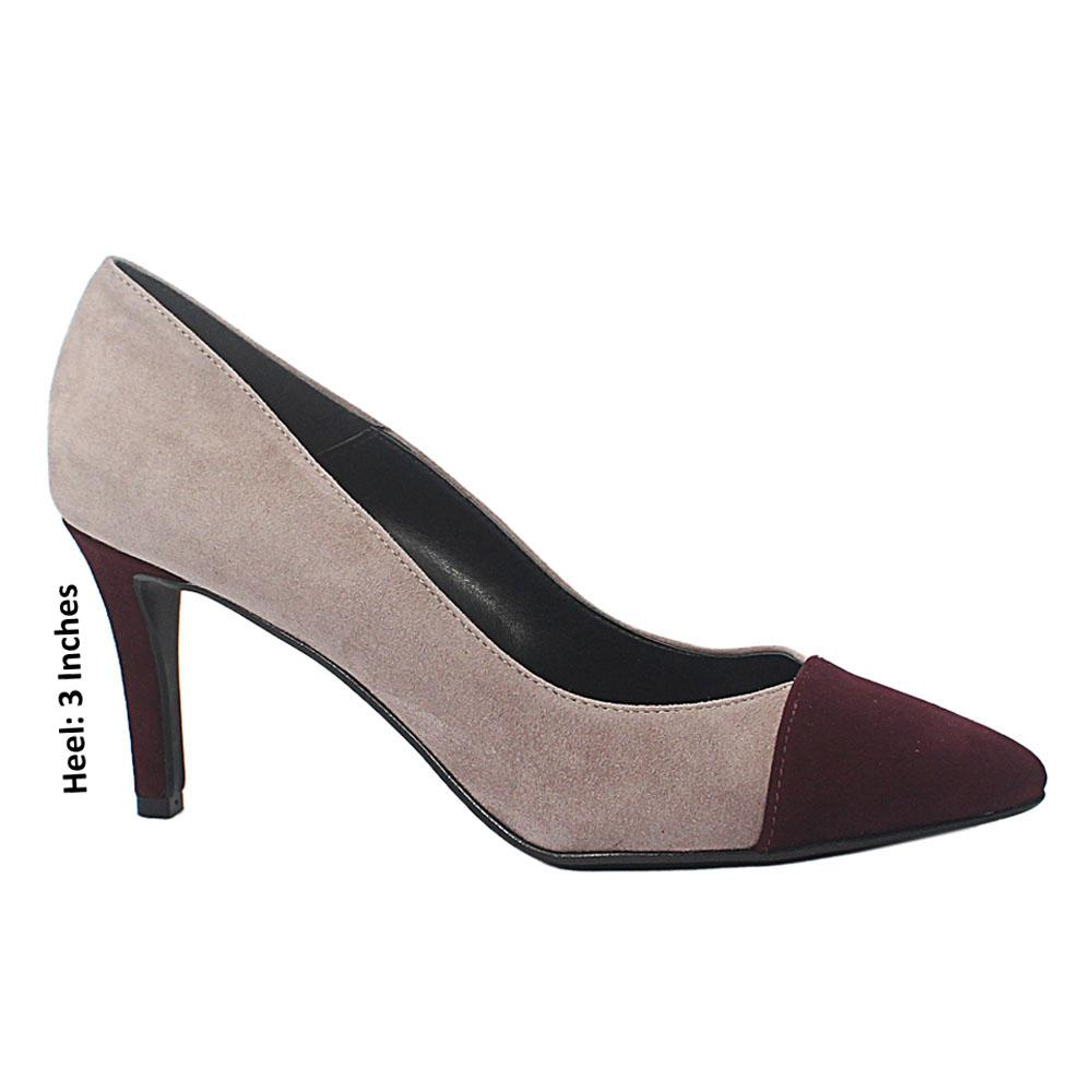 Gray Burgundy Pietra Suede Leather Heel