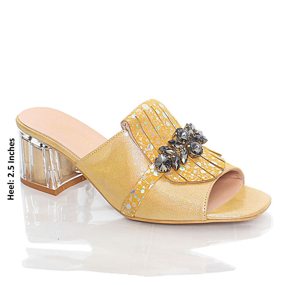 Yellow Nelle Shiny Italian Leather Mule