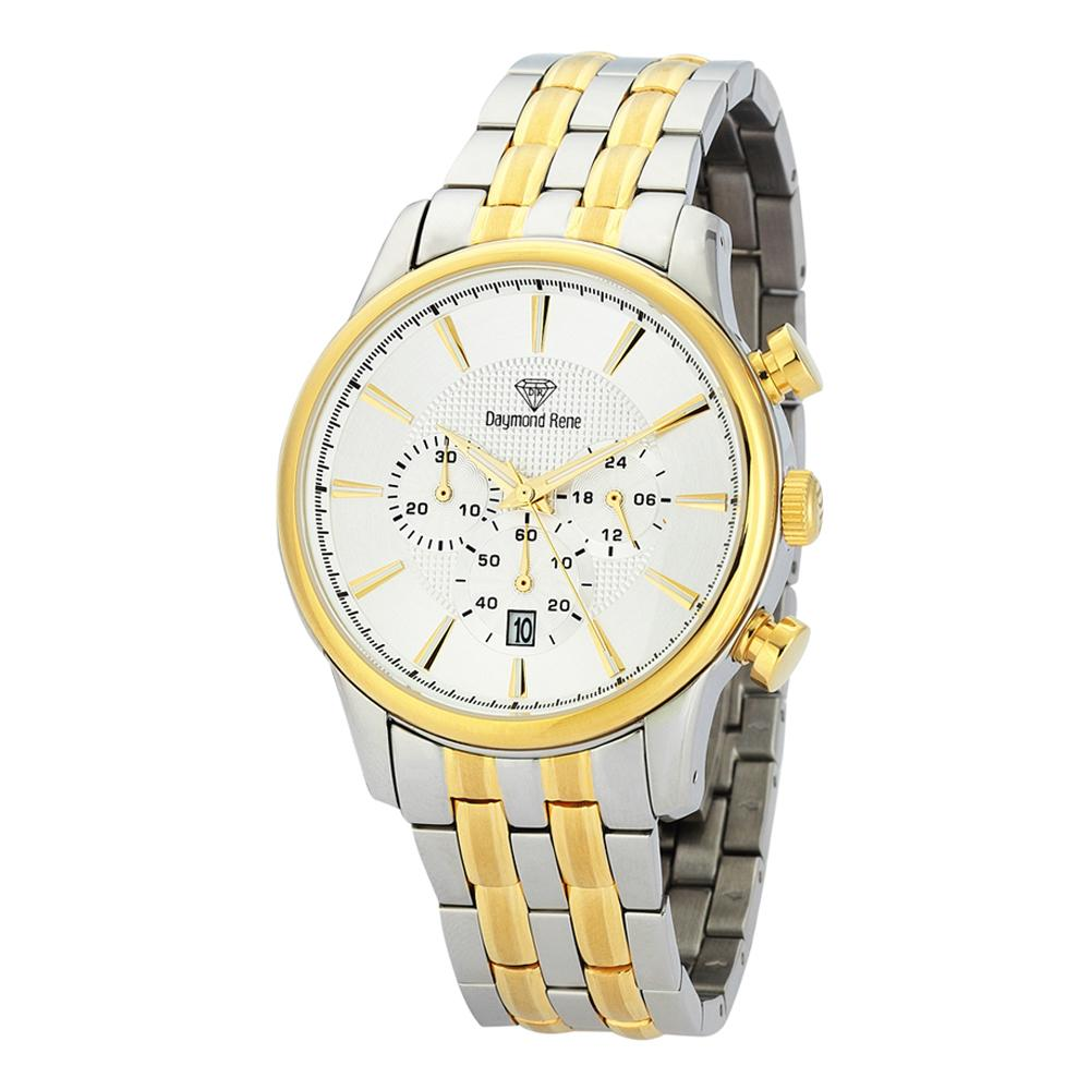 Silver Gold Stainless Steel Chronograph Watch