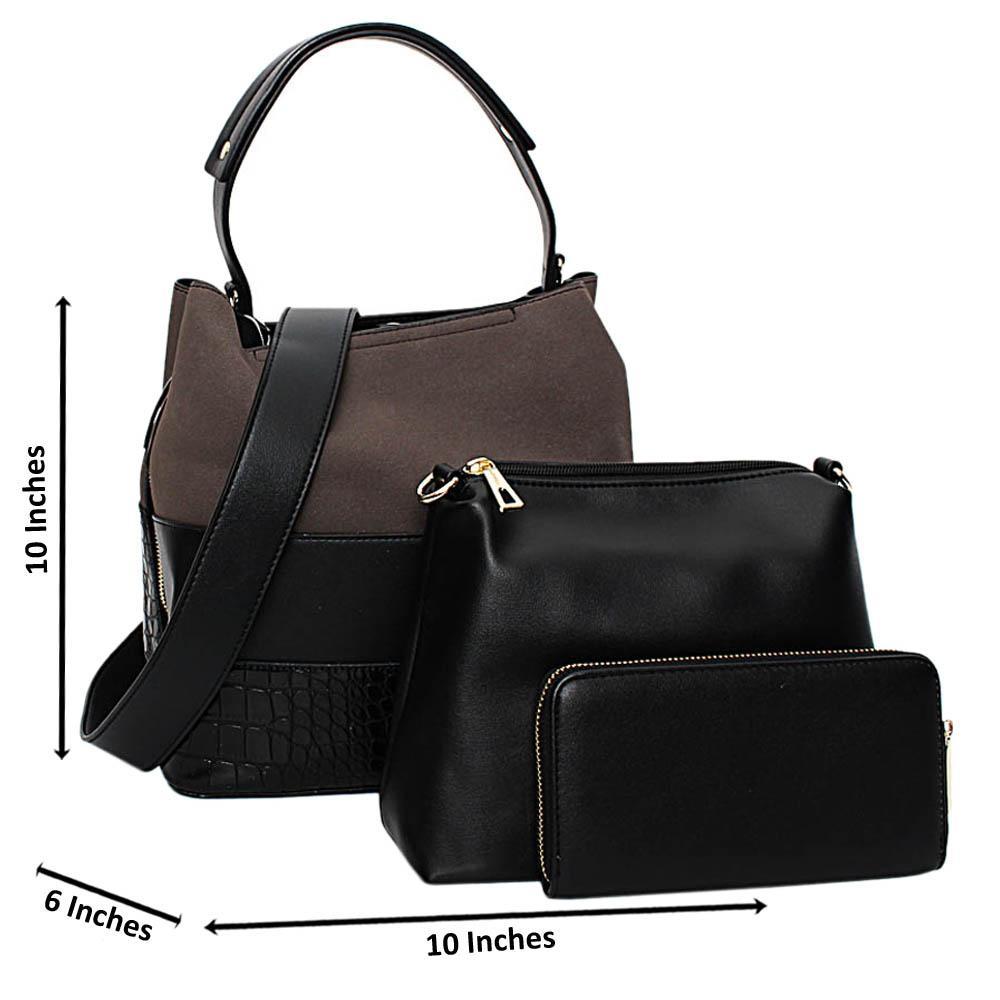 Black Mix Suede Croc Leather Medium 3 in 1 Top Handle Handbag