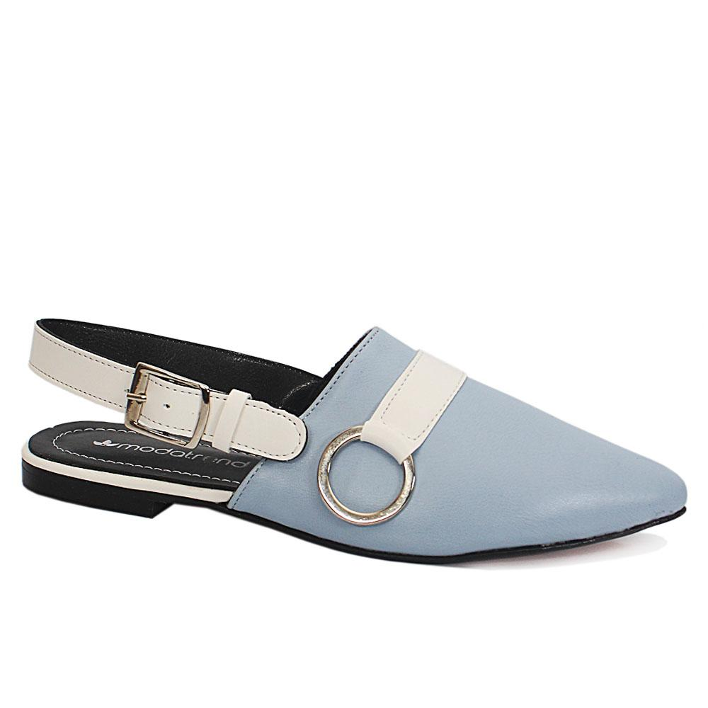 Sky Blue Pointed Leather Ladies Flat Shoe