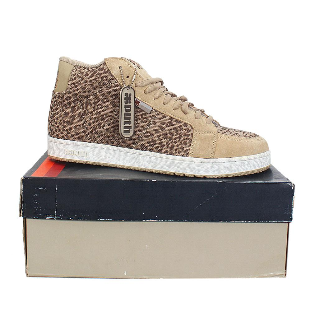 Path Khaki Leopard Fabric Leather Men Ankle Sneakers Sz 45.5