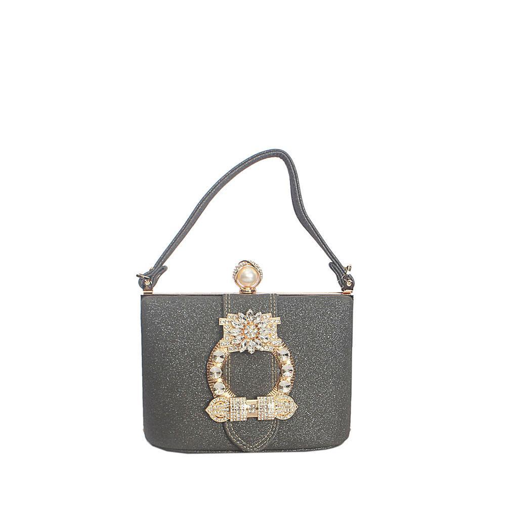 Gray Studded Glitz Leather Hard Clutch Purse Wt Strap