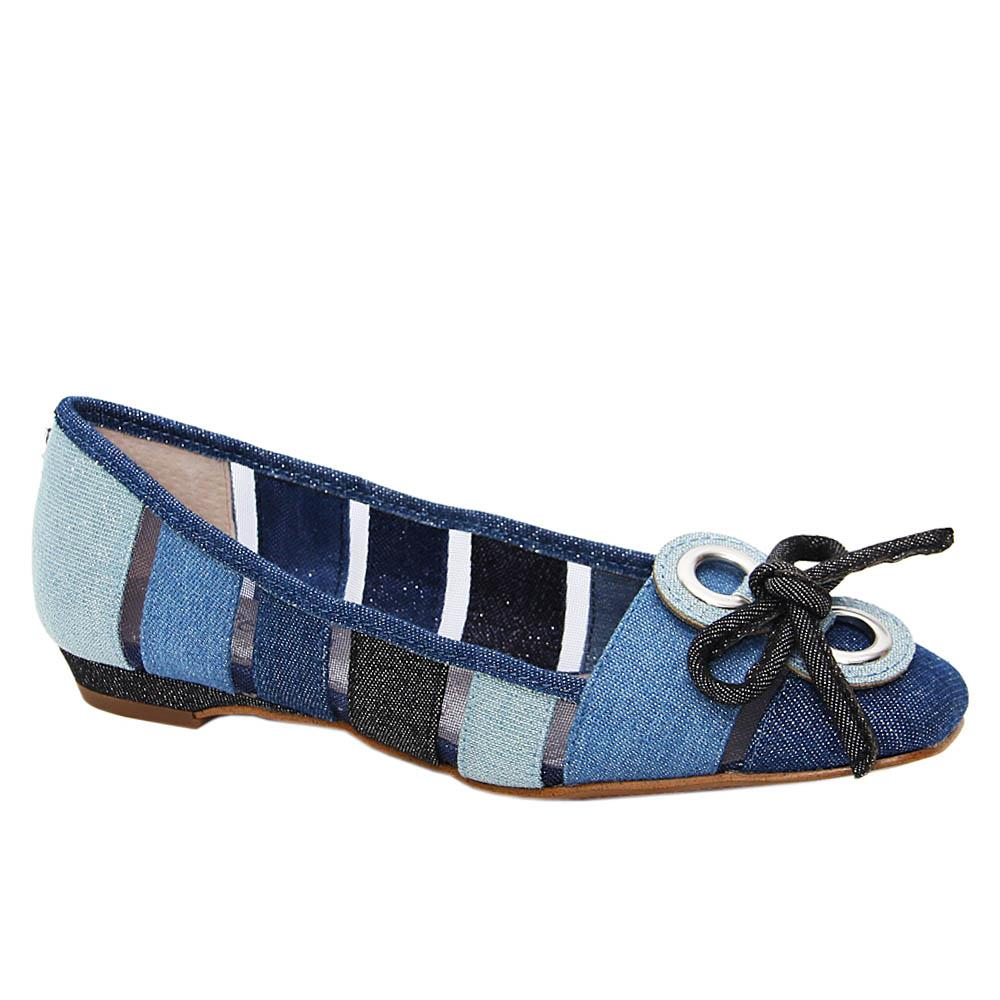 Blue-Madeline-Denim-Fabric-Women-Flat-Pumps