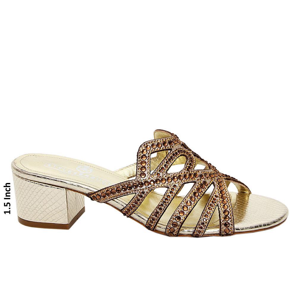 Gold Keyla Studded Italian Leather Mid Heel Mule