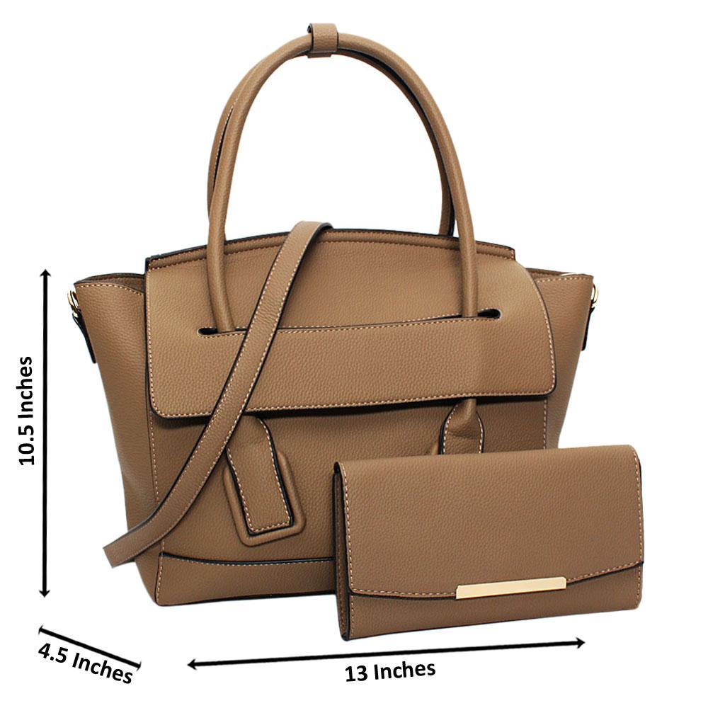 Khaki Eliena Leather Medium Tote Handbag