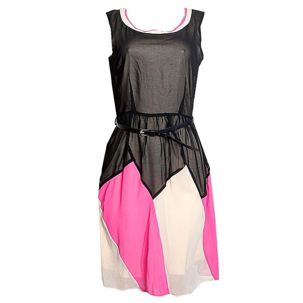 Black Cream Mix SleevelesCotton Ladies Dress-8