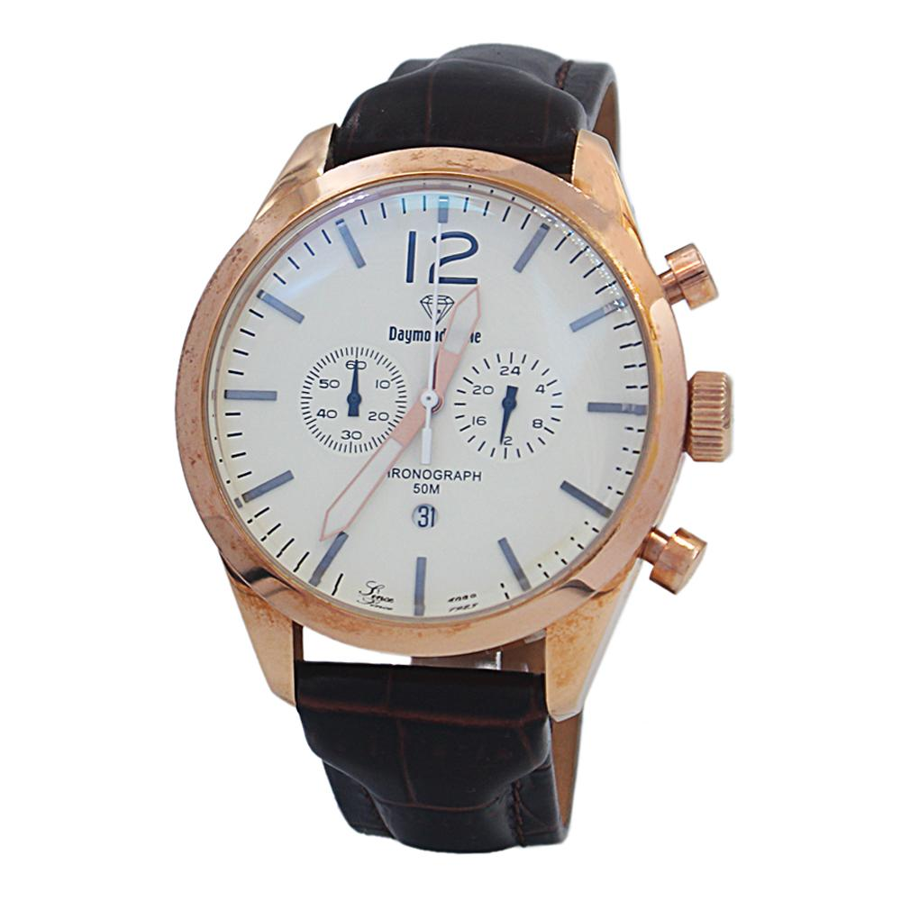 DR 5ATM Coffee Rose Gold Leather Chronograph Watch
