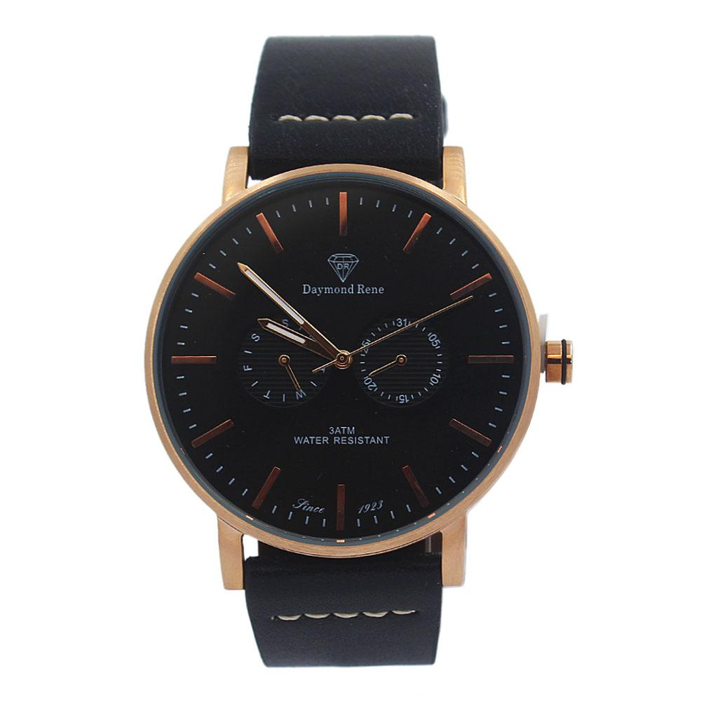 DR 3ATM Black Leather Royal Flat Watch