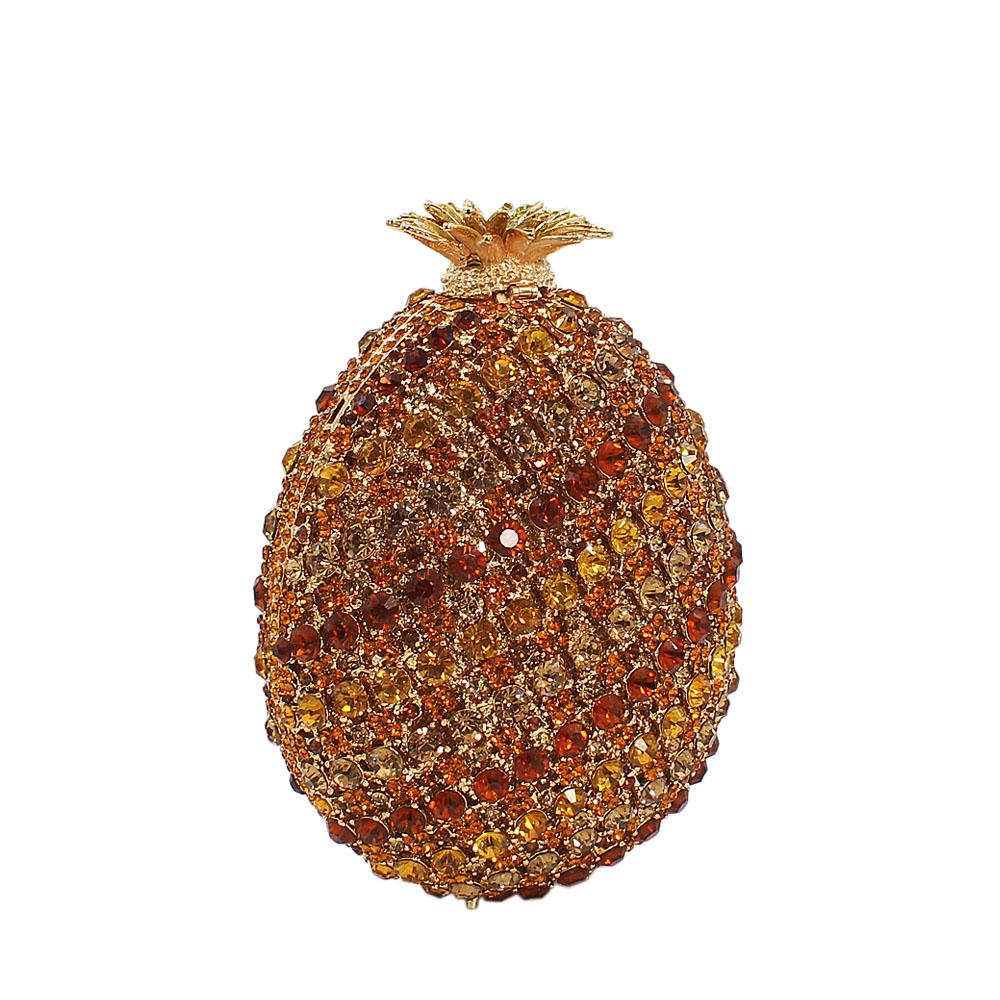 Brown Mix Pineapple Diamante Crystals Clutch Purse