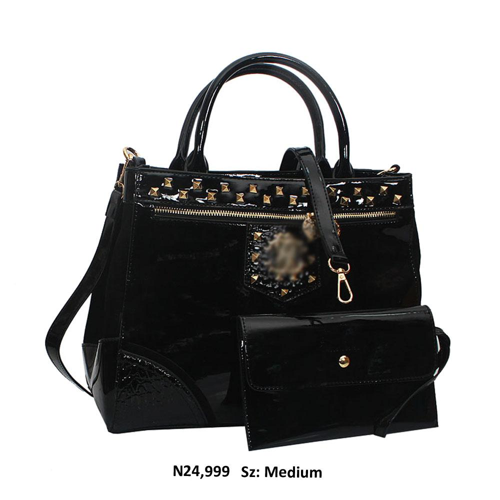 Black Opal Studded Patent Suede Leather Tote Handbag