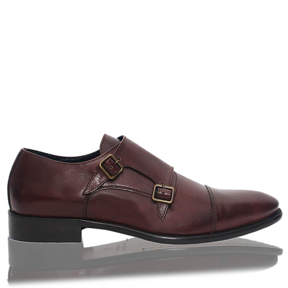 Coffee Dejavu Italia Leather Double Monk Strap Men Shoe