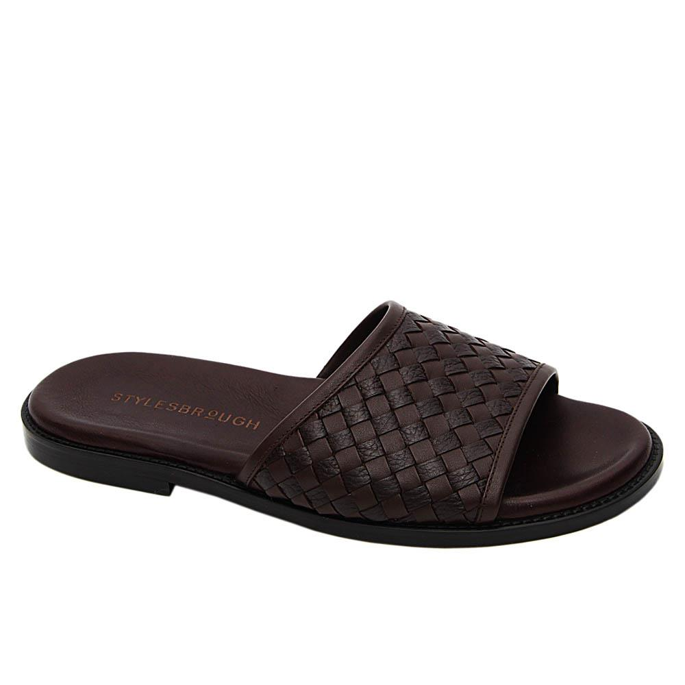 Coffee Woven Italian Leather Men Slippers