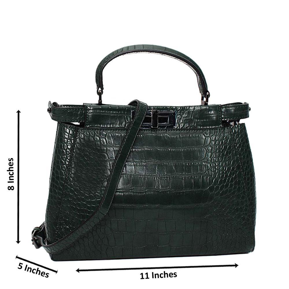 Desert Green Arabella Croc Leather Small Top Handle Handbag