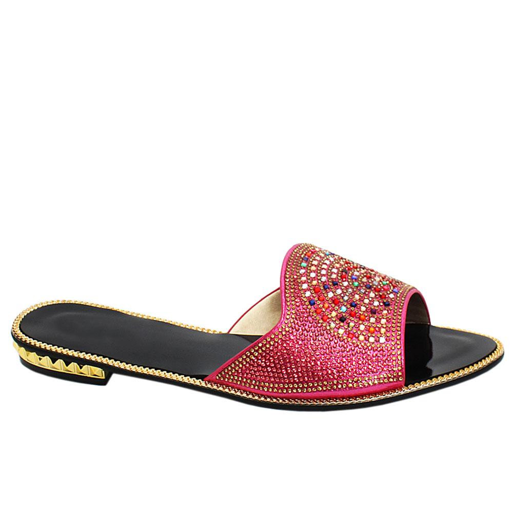 Pink Candice Studded Leather Ladies Flat Slippers