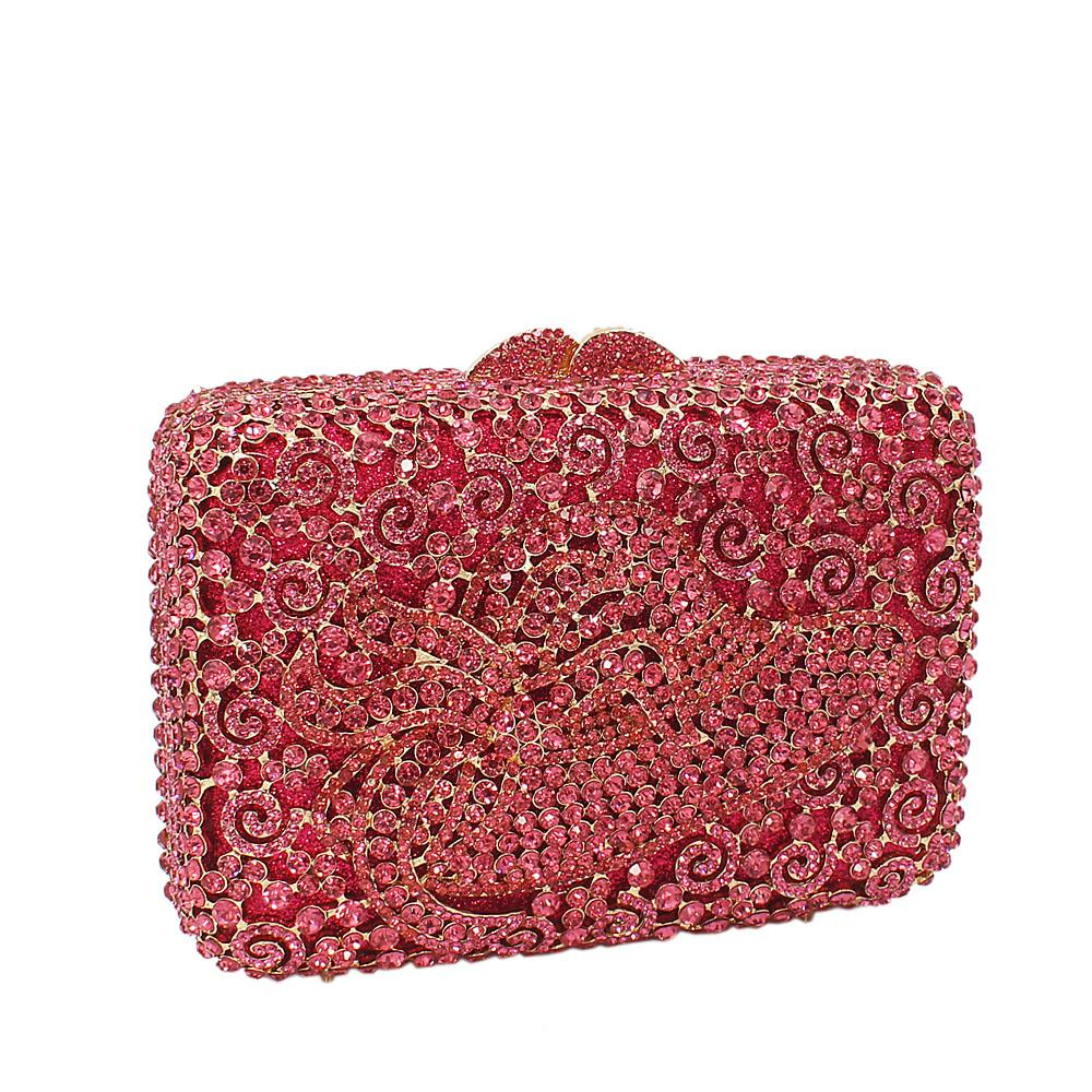 Pink Hat Diamante Crystals Clutch Purse