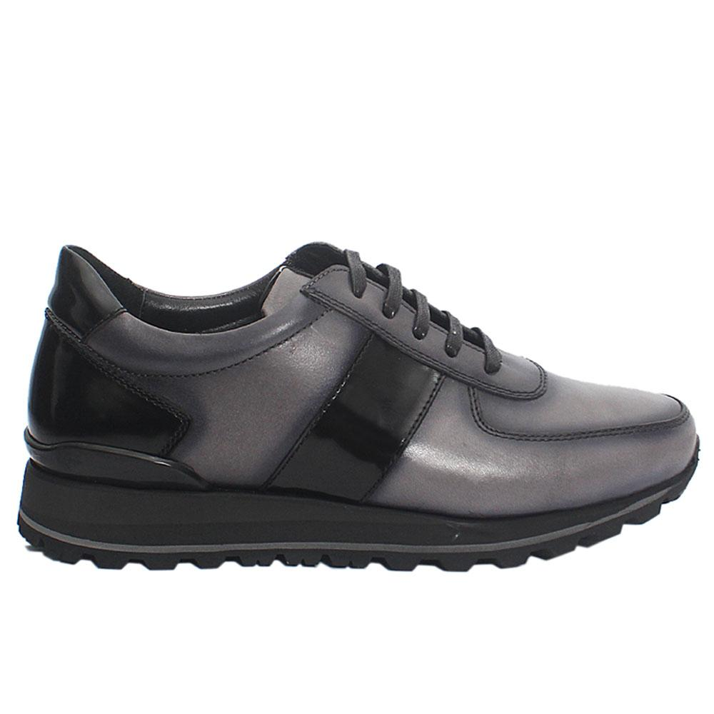 Gray Rugan Italian Leather Sneakers
