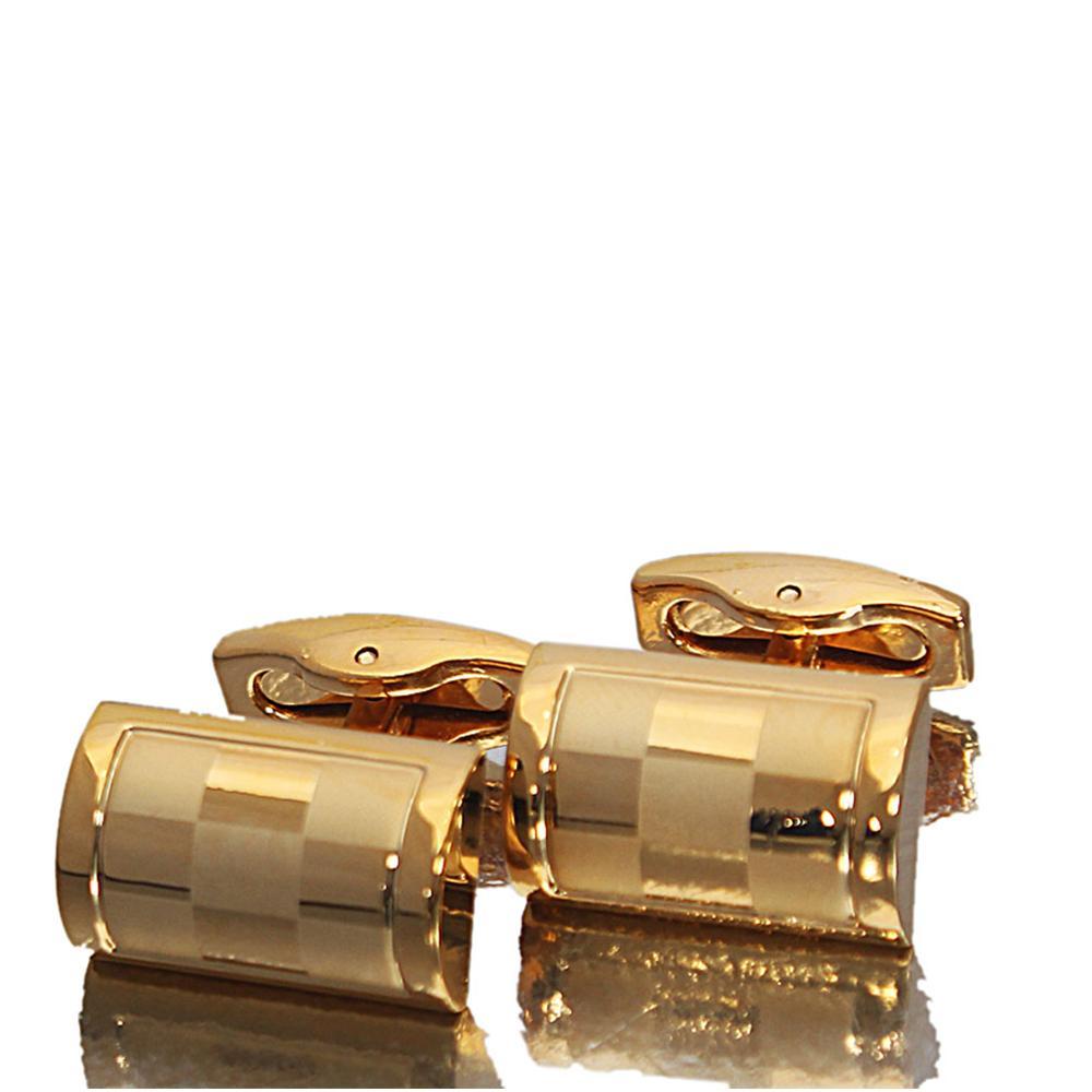Gold Checkered Stainless Steel Cufflinks