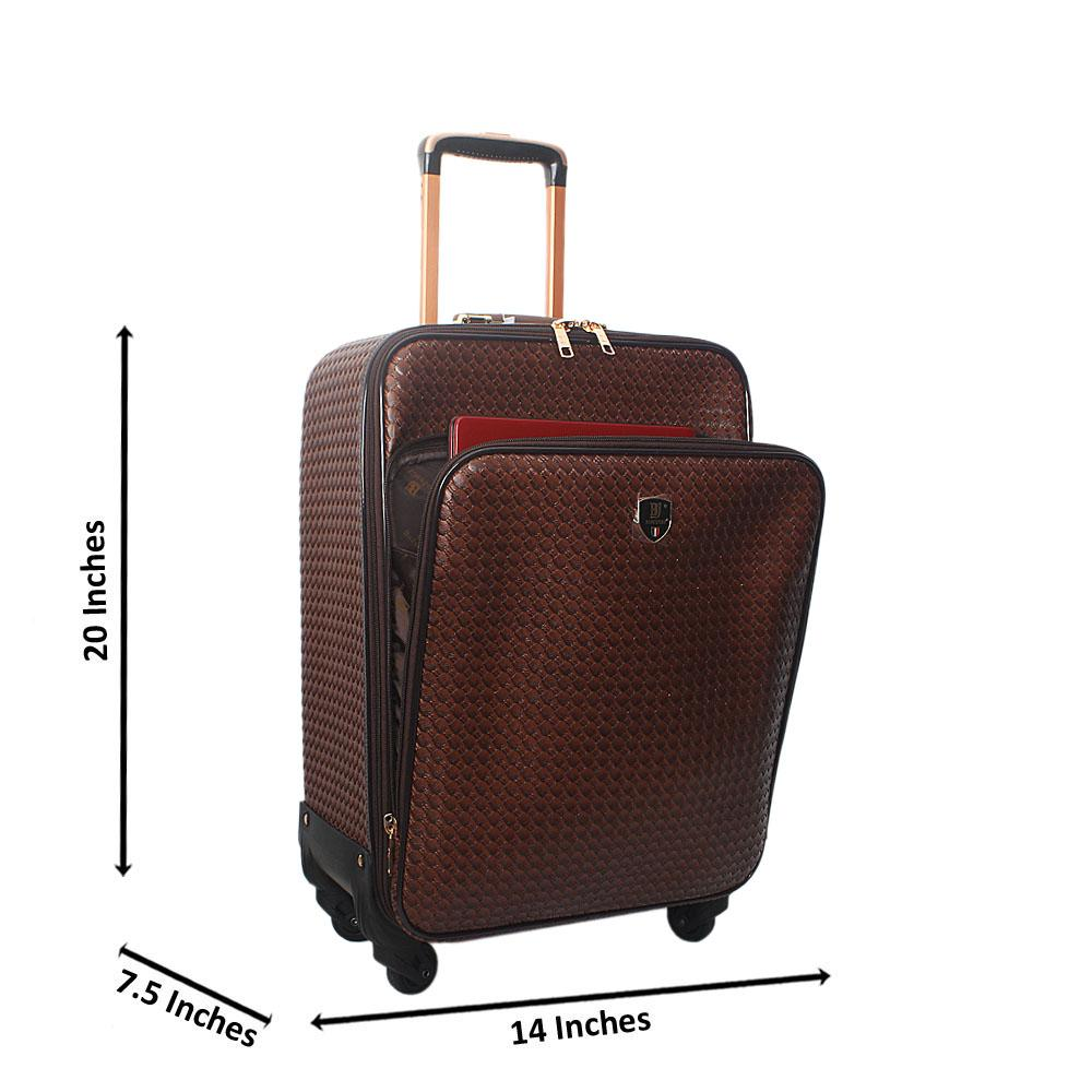 Coffee 20 Inch Woven Style Leather Small Hand Luggage
