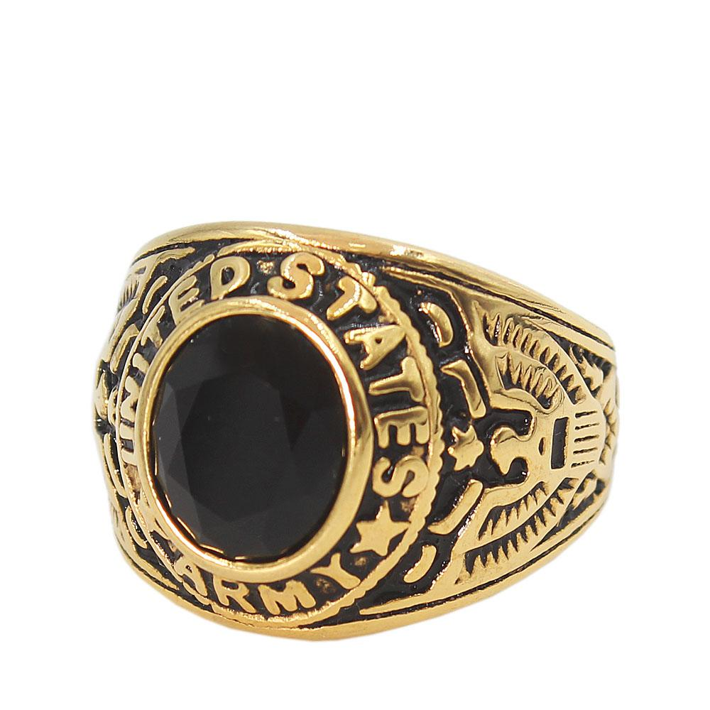 Gold Black US Army Ring