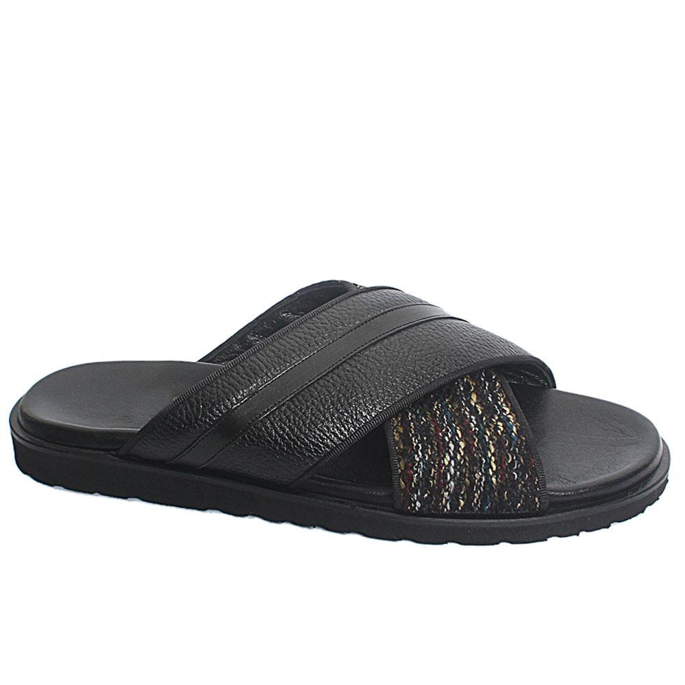 Black Puccino Fabric Leather Men Slippers