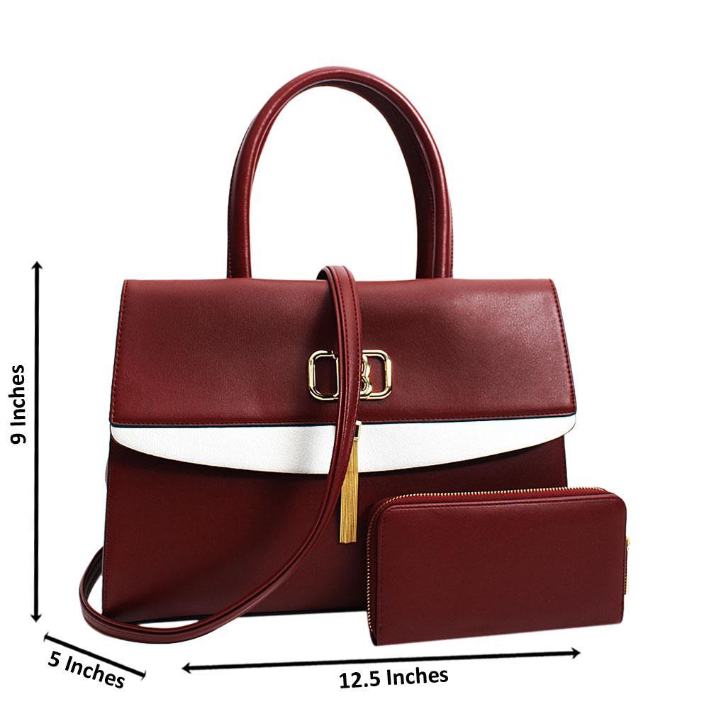 Wine Graziella Leather Medium Tote Handbag
