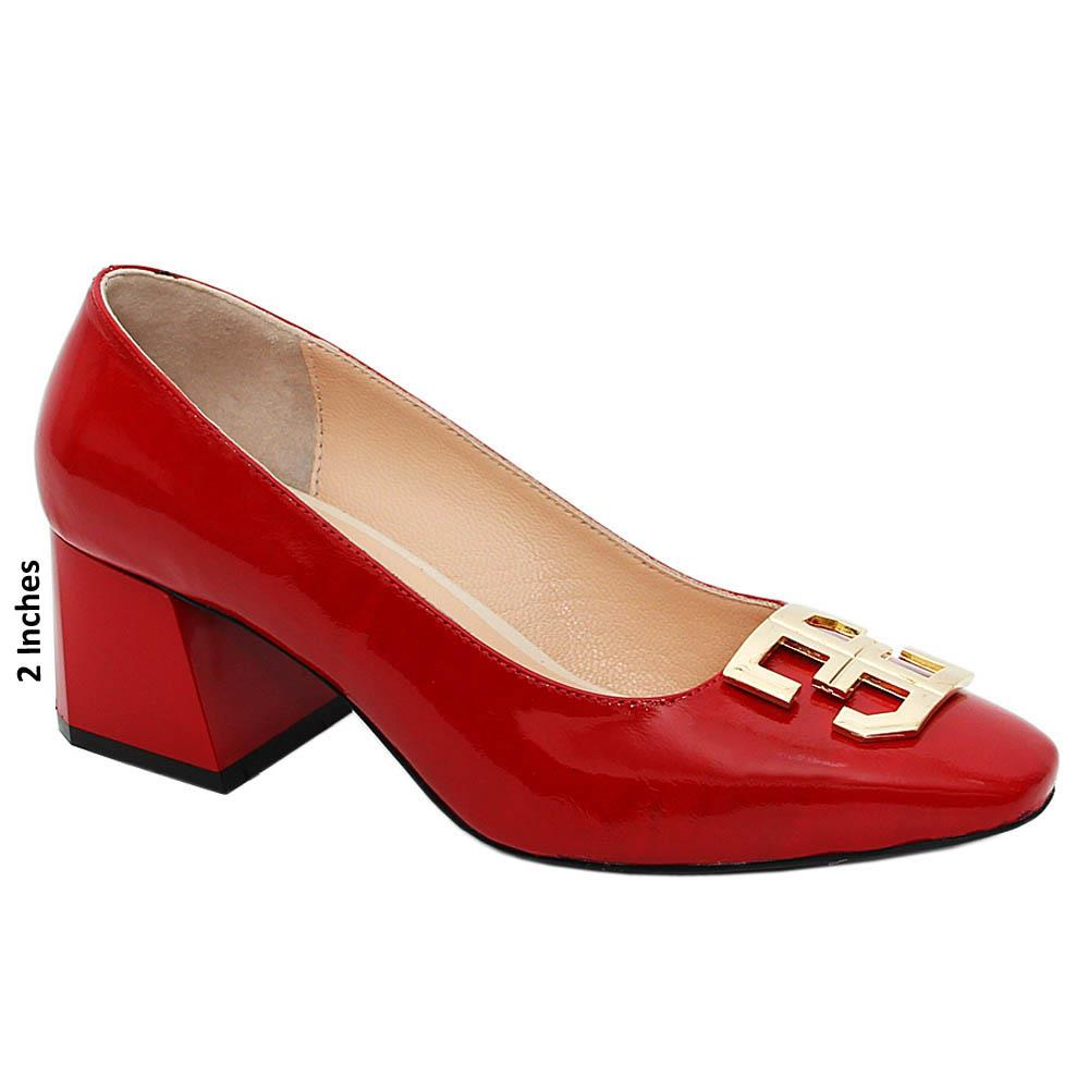 Red Catalina Patent Tuscany Leather Mid Heel Pumps