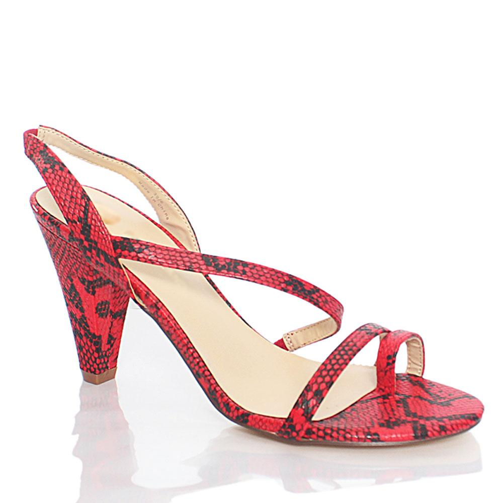Red Black Sofia Snake Styled Leather Heels