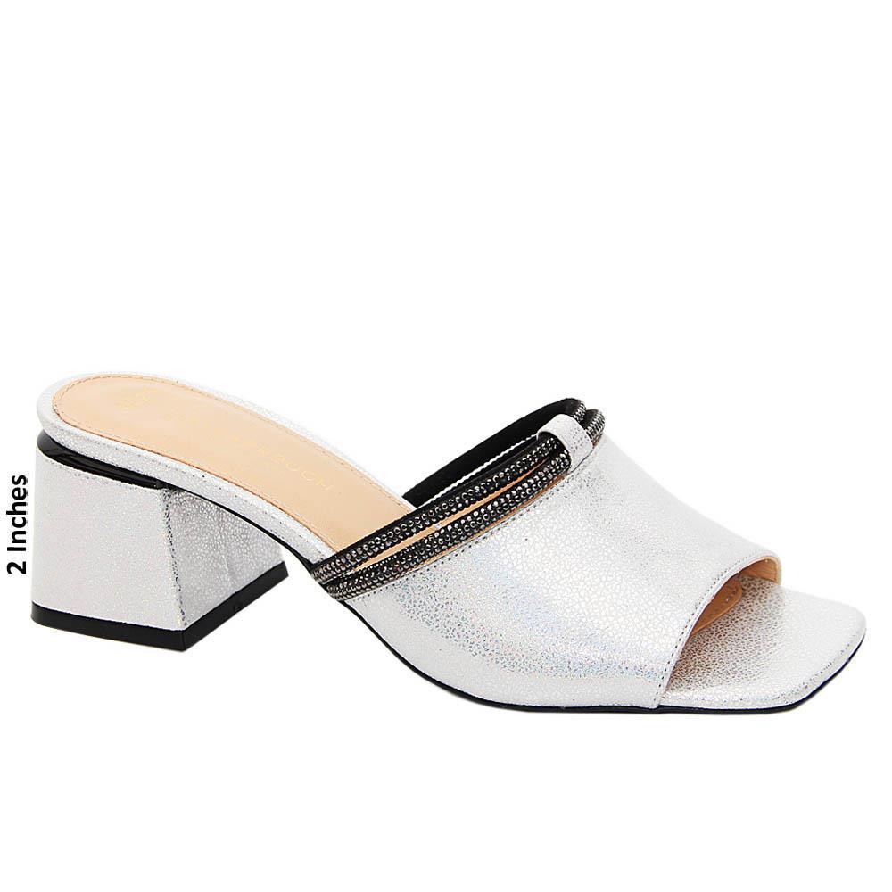 Silver Samantha Glitters Tuscany Leather Mid Heel Mule