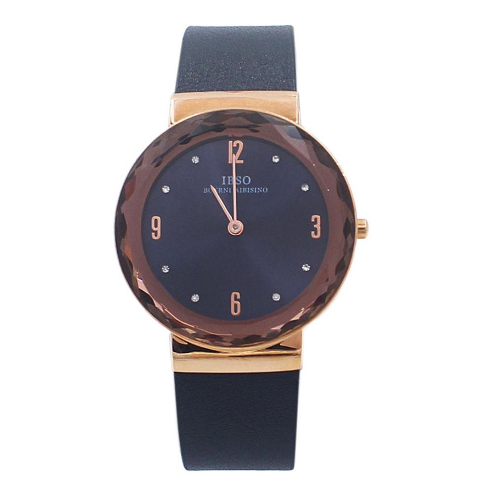 OldSkul Navy Leather Ladies Flat Watch