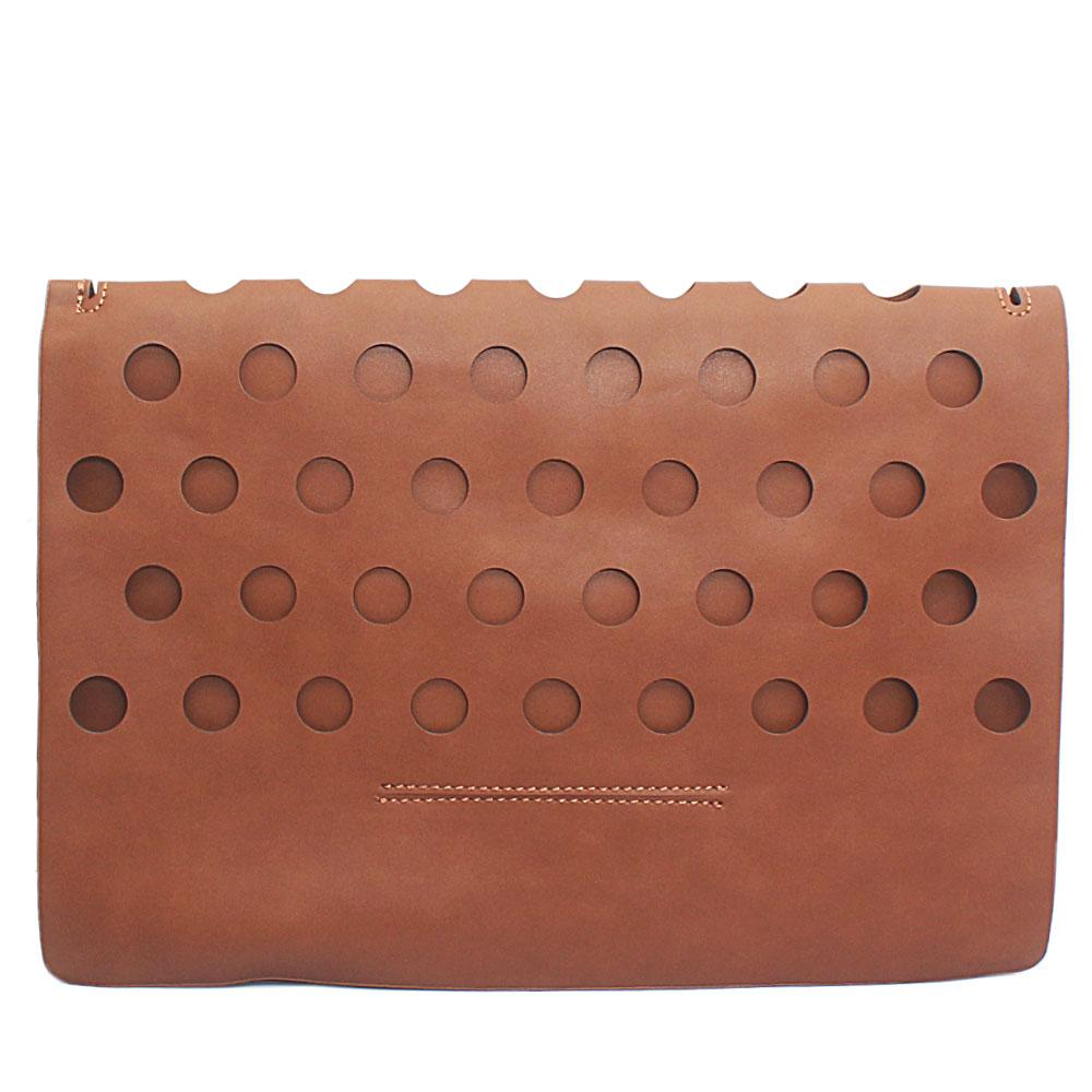 Brown Punctured Leather Flat Purse