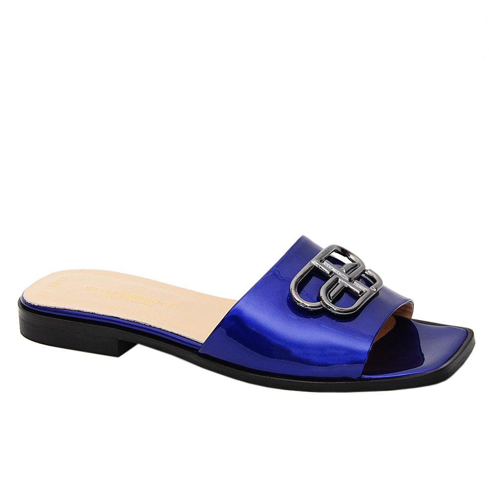 Royal Blue Malena Patent Tuscany Leather Low Heel Slippers