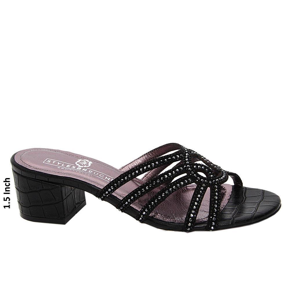 Black Bexley Studded Italian Leather Mid Heel Mule