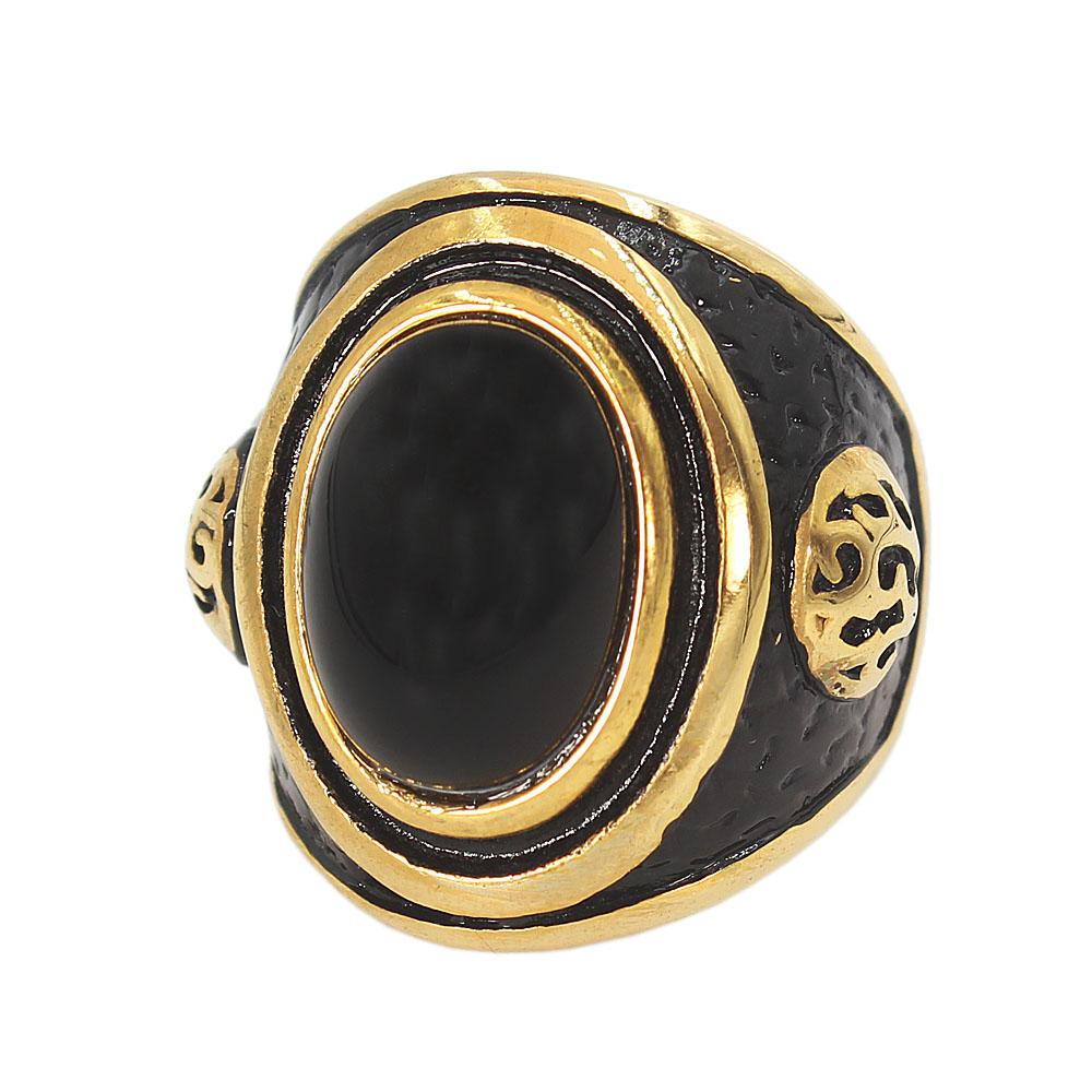 Gold Black Stoned Expendable Ring