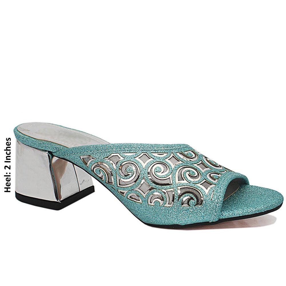 Blue Open Toe Shimmering Leather Mule