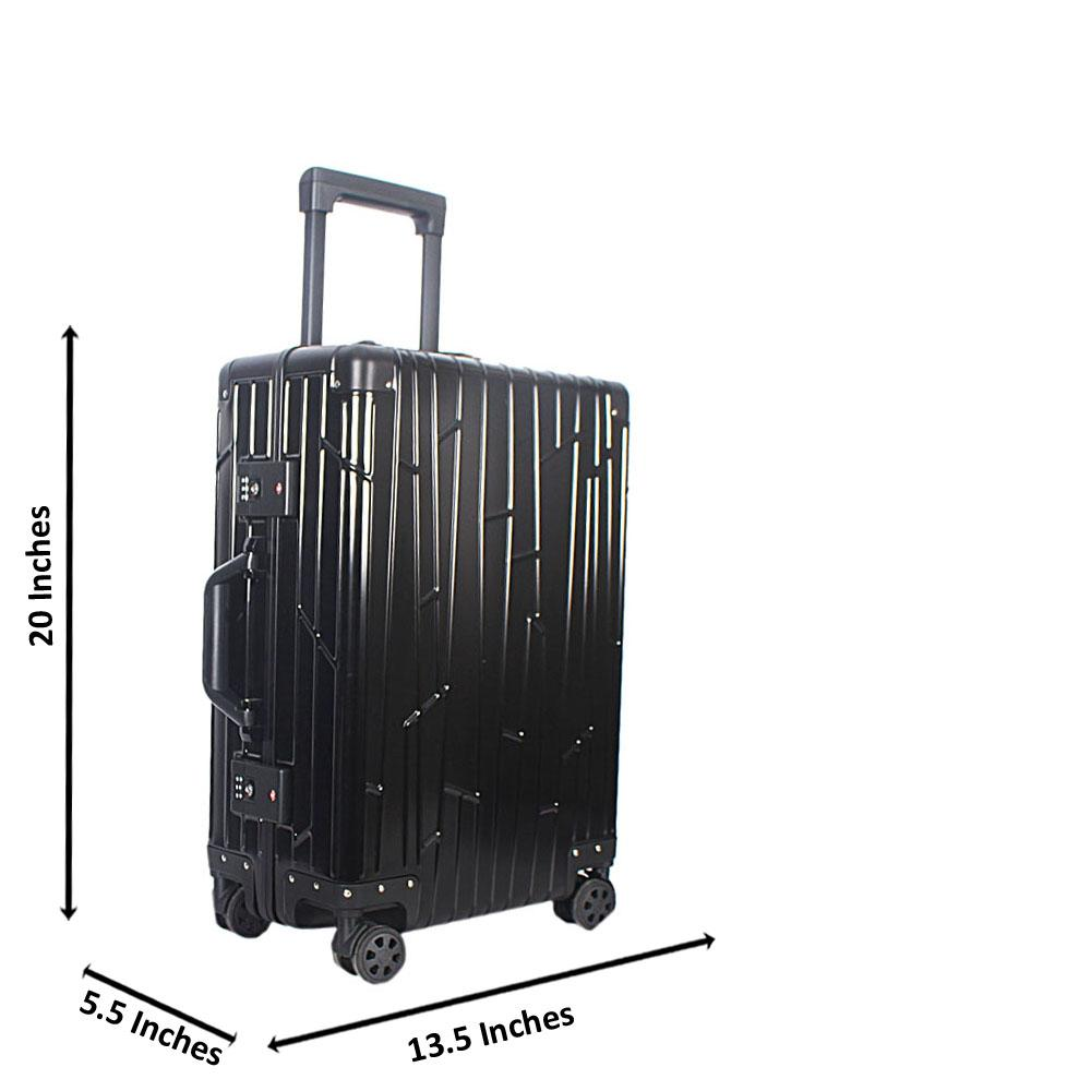 Black 20 Inch Aluminium Carry On Luggage Wt TSA Lock