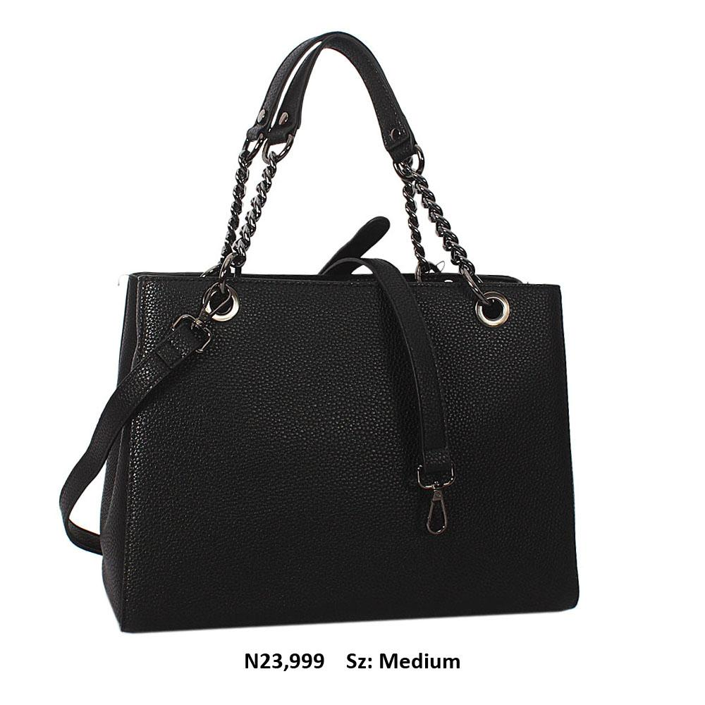 Black Camille Leather Chain Shoulder Handbag