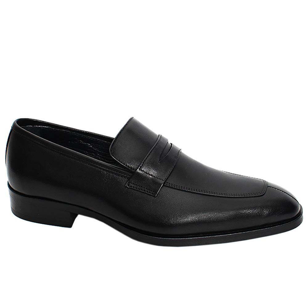 Black Eason Zayn Leather Men Penny Loafers