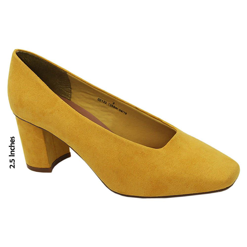 Mustard Yellow Alicia Curry Suede Leather High Heel Pumps