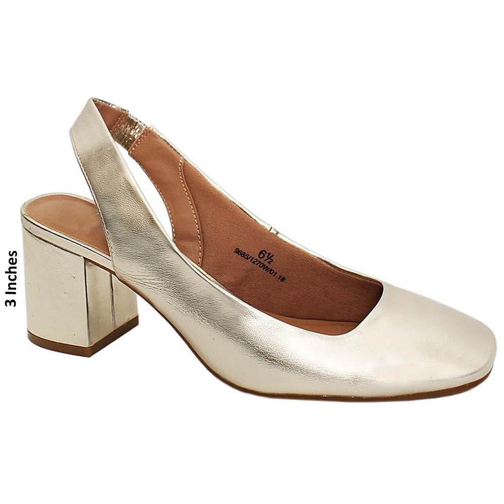 Gold Lisa Rosse Leather Medium Heels