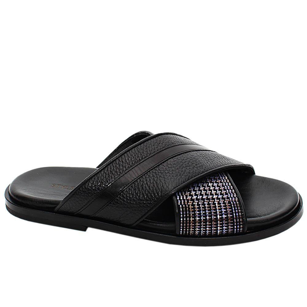 Black Marco Mix Italian Leather Men Slippers