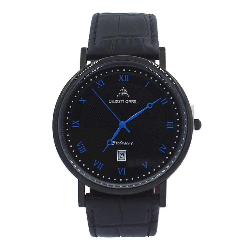 Black Exclusive Leather Flat Watch