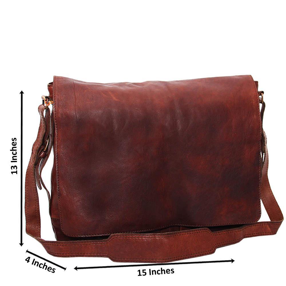 Coffee Ryan Jackson Pure Leather Messenger Bag