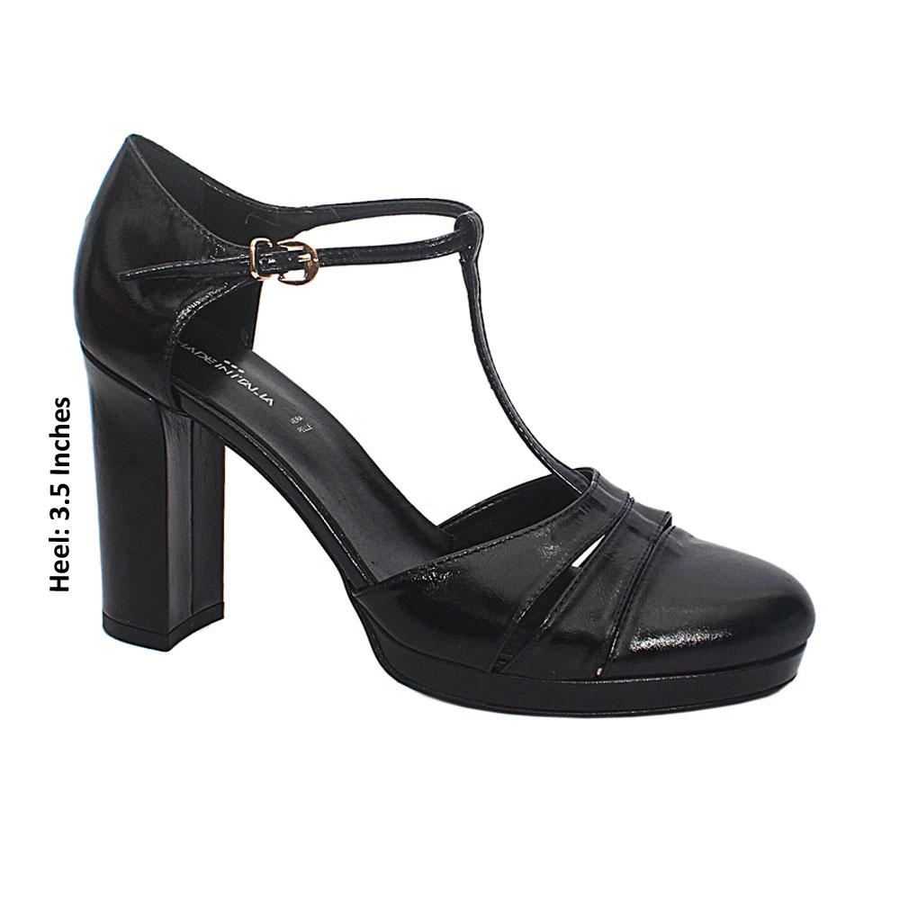 Black Vanessa Leather Block Heel