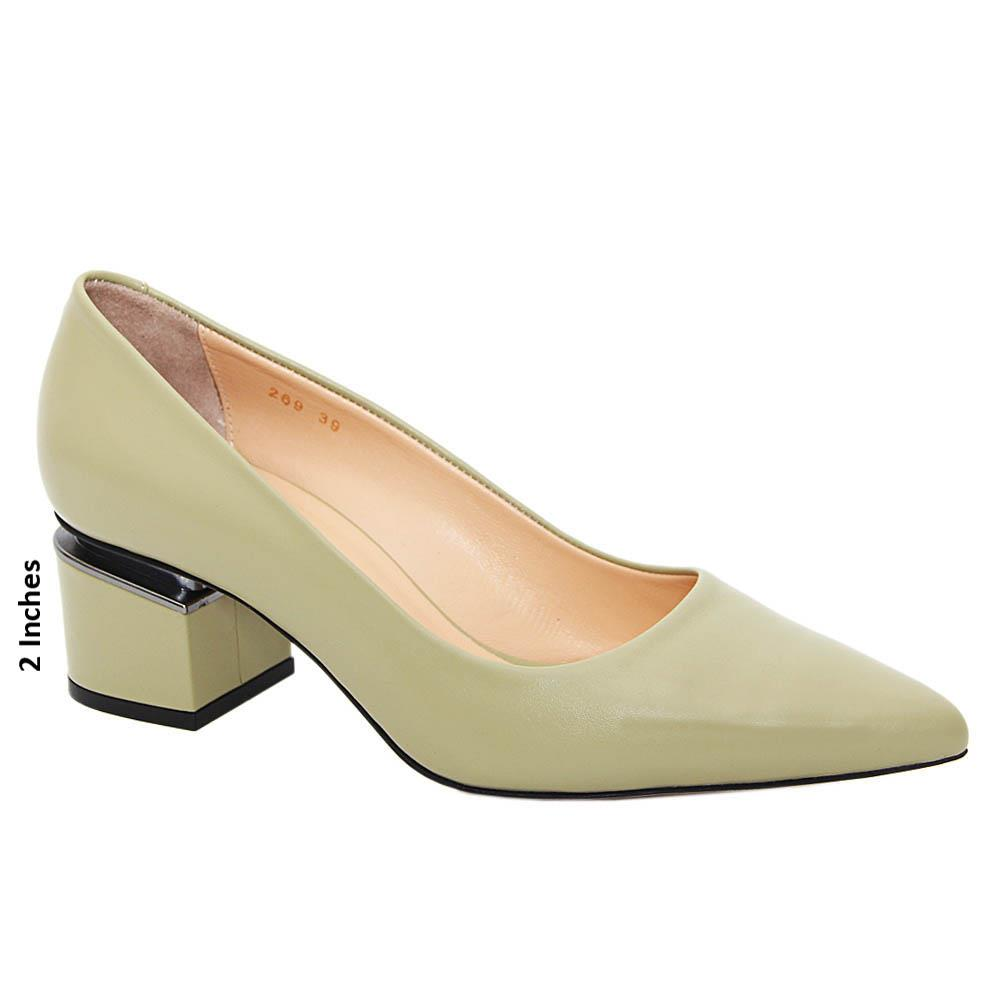 Olive Green Madelyn Tuscany Leather Mid Heel Pumps