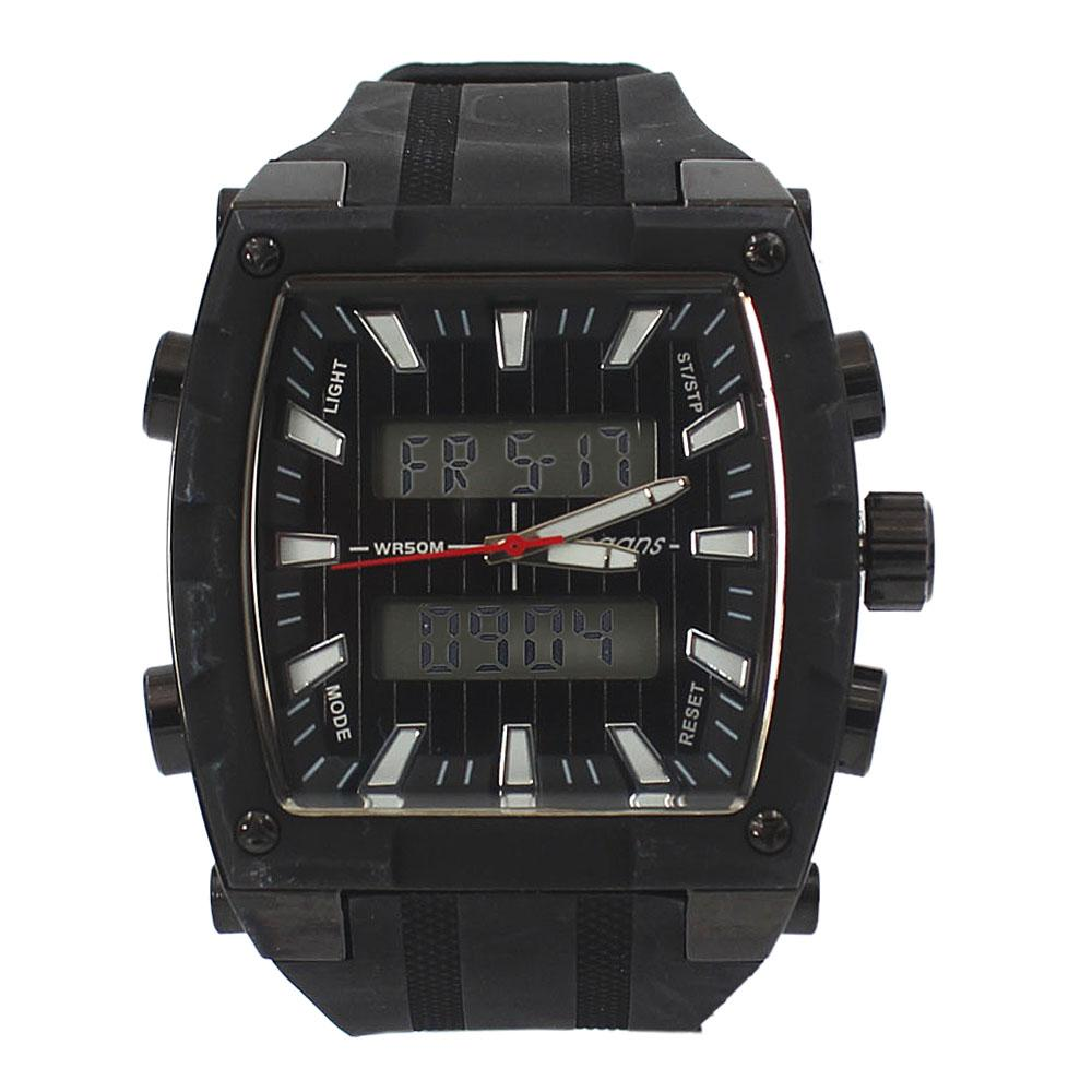 Vegans Black Rubber Water Resistant 50M Analog-Digital Watch